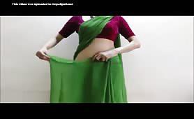 Nepali Girl Sital Tying Sari