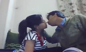 Sensual kiss on webcam