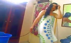 Indian aunty washing her body