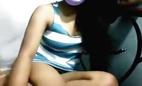 Shy girl flashing her tits