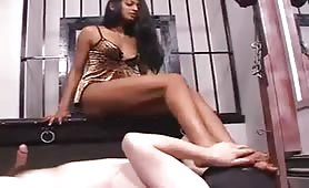 Indian mistress playing with her slave