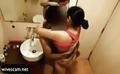Having sex in public bathroom